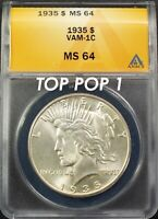 1935 $1 PEACE DOLLAR VAM-1C MINT STATE 64 ANACS  R-5 COIN. TOP POP. 1