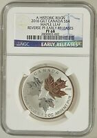 2016 CANADA: $4 A HISTORIC REIGN, GILT MAPLE LEAF, REVERSE PROOF NGC PF69 1/2 OZ