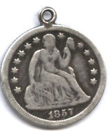 1857-O SEATED DIME  MEDIUM O  FINE DETAIL  LOOPED FOR WEAR  COME GET IT