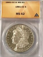 1881 CC MORGAN SILVER $1 DOLLAR MINT STATE 62 ANACS CERTIFIED