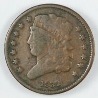 1832 CLASSIC HEAD HALF CENT 1/2C - C-3 REPUNCHED LETTERS ON REVERSE