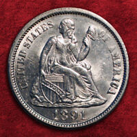 1891-P LIBERTY SEATED SILVER DIME,  HIGH GRADE BU