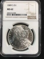 1889 S MORGAN SILVER DOLLAR NGC MINT STATE 62 BETTER DATE $1  EYE APPEAL SEE PICS.