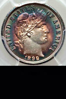 1899 PCGS MS64  CRAZY COLORS   REPUNCHED DATE BREEN 3515   BARBER DIME 10C