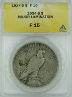 1934-S PEACE DOLLAR, MAJOR REVERSE PLANCHET LAMINATION  ANACS F15