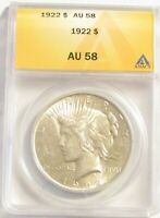 1922 PEACE DOLLAR ANACS AU58