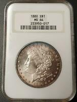 1880 MORGAN DOLLAR - NGC - MINT STATE 64 - 233950-017 - BEAUTIFUL TONING