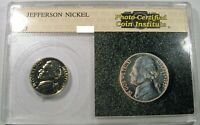 PCI 1957 JEFFERSON NICKEL OLD PCI PHOTO SLAB LIGHT GOLD TONING PROOF COIN