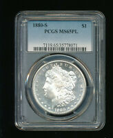 1880-S MORGAN SILVER DOLLAR $1 PCGS MINT STATE 65 PROOFLIKE PL PROOF LIKE PROOF-LIKE