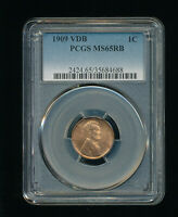 1909-P VDB LINCOLN WHEAT CENT CENT 1C PCGS MINT STATE 65 RED BROWN RB