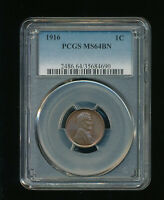 1916-P LINCOLN WHEAT CENT CENT 1C PCGS MINT STATE 64 BROWN BN TYPE 1, WHEAT REVERSE