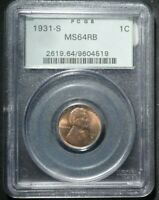 1931 S LINCOLN CENT 1  PCGS MS64 RB  OLD MINT GREEN HOLDER
