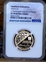 2018 S AMERICAN INNOVATION WASHINGTON SIGNED 1ST PATENT NGC