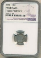 1795 FLOWING HAIR SILVER HALF DIME-INCREDIBLE EARLY U.S. COIN NGC F DETAILS