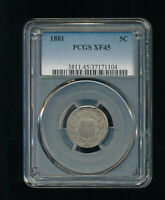 1881-P SHIELD NICKEL 5C PCGS EXTRA FINE  45 TYPE 2, NO RAYS  LOW MINTAGE