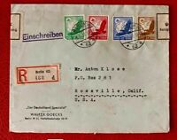 GERMANY AIRMAIL COVER REGISTERED   EAGLES YEAR 1937JULY TO US