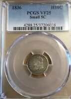 1836 PCGS VF25 SMALL 5C CAPPED BUST HALF DIME