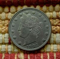 1883 LIBERTY V-NICKEL WITHOUT CENTS, AU    FIRST YEAR OF ISSUE