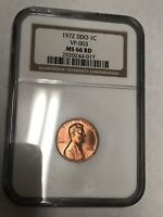 1972 DDO DOUBLE DIE LINCOLN CENT 1C VP 003 NGC MS 66 RD RED