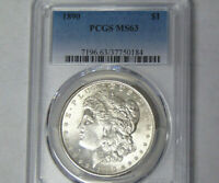 PCGS MINT STATE 63 1890 MORGAN SILVER DOLLAR PHILADELPHIA MINT