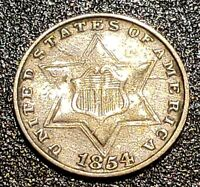 1854 THREE 3 CENT SILVER COIN