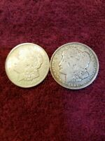 1921-D MORGAN SILVER DOLLAR LOT. 2 COINS  652