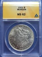 1921-P MINT STATE 62 MORGAN SILVER DOLLAR: ANACS GRADED/SLABBED FS