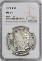 1921-S MORGAN DOLLAR NGC CERTIFIED MINT STATE 64
