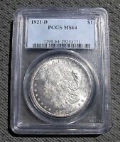 1921 D BU MORGAN DOLLAR VAM 1F  EDS PCGS MINT STATE 64 FEW FINER REGISTRY READY