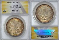 1878 7/8 TF $1 MORGAN SILVER DOLLAR STRONG, 7/5 VARIETY. VAM 38  M63 ANACS