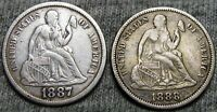 1887-S 1888 SEATED LIBERTY DIME ----  TYPE COIN LOT   ---- W038