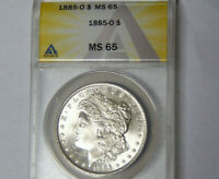 ANACS MINT STATE 65 1885-O MORGAN SILVER DOLLAR GEM UNCIRCULATED NEW ORLEANS MINT