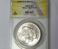 ANACS MINT STATE 65 1885-O MORGAN SILVER DOLLAR GEM UNCIRCULATED BELLY BUTTON VARIETY
