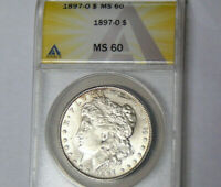 ANACS MINT STATE 60 1897-O MORGAN SILVER DOLLAR KEY UNCIRCULATED NEW ORLEANS MINT COIN