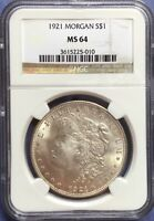 1921-P MINT STATE 64 MORGAN SILVER DOLLAR: NGC CERTIFIED/ GRADED