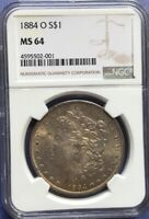 1884-0 MINT STATE 64 MORGAN SILVER DOLLAR - OBVERSE BRONZE TONED NGC GRADED