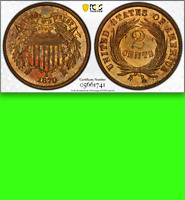 1870 PCGS PR64 RB  NON-DOCTORED  $800 CU UNDERRATED PROOF TWO CENT PIECE 2C