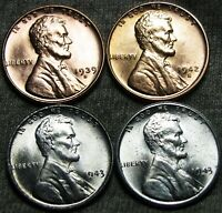 1939-S 1942-S 1943 1943-S LINCOLN CENT WHEAT CENT STEEL -- GEM BU ---- W214