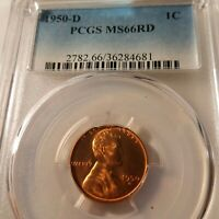 1950-D RED PCGS MINT STATE 66  LINCOLN BU   COIN UNCIRCULATED CENT  WHOLE SET LISTED