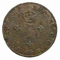 1742 H FRENCH COLONIES SOU MARQUE COLONIAL COPPER COIN FINE 26.2 GRAINS