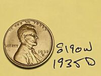 1935-D 1C BN LINCOLN CENT WHEAT CENT 8190W VF - EF