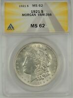1921-P $1 MORGAN SILVER DOLLAR ANACS MINT STATE 62 6109735 VAM-39A DOT ON WING DIE BREAK