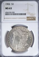1902 MORGAN DOLLAR NGC MINT STATE 63 STRONG STRIKE, LIGHT ORIGINAL TONING