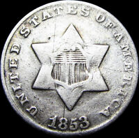 1853 SILVER THREE CENT PIECE 3CP ---- TYPE COIN  DETAILS ----  W511