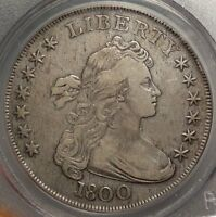 1800 DRAPED BUST SILVER DOLLAR, CHOICE  FINE, CERTIFIED PCGS VF-30 CLASSIC