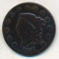 1831 CORONET HEAD LARGE CENT- CIRCULATED LARGE CENT-SHIPS FREE INV:5