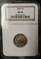 1869 SHIELD NICKEL - NGC - MINT STATE 64 - 184 7724-022