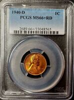 1940-D WHEAT CENT - PCGS - MINT STATE 66 RED - 33048565