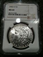 1902 O MORGAN SILVER DOLLAR MINT STATE 64 NGC BRIGHT WHITE