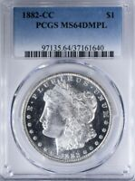 1882 CC MORGAN DOLLAR PCGS MINT STATE 64DMPL DEEP PL FIELDS WITH CAMEO DEVICES